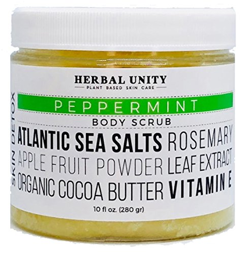 USDA Organic Peppermint Body Scrub - Best Skin Exfoliator - Natural Moisturizing Ingredients - Spa Quality - Fresh & Calming Aromatherapy Essential Oils - Atlantic Sea Salts