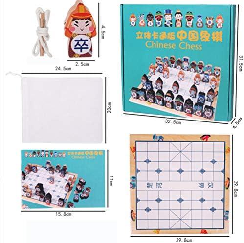 TOYANDONA Houten Chinees Schaakspel 3D Stripfiguur Spelbord Educatief Speelgoed Voor Kinderen Studenten Gezelschapsspellen