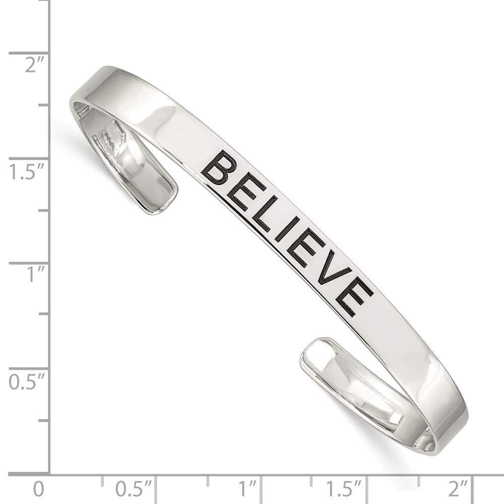 925 Sterling Silver Believe Antiqued Cuff Bangle Bracelet