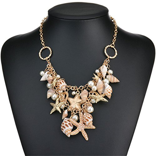(Lanue Sea Shell Bib Beach Necklaces Pearl Chunky Statement Pendant Necklace)