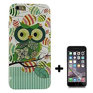 ZXSPACE Green Owl Pattern Soft TPU with Screen Protector Case Cover for iPhone 6