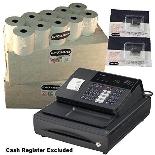 eposbits® marca 40rollos + 2x de tinta para Casio 140CR 140CR caja registradora