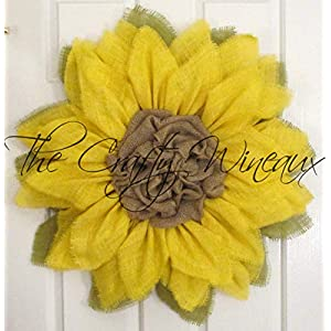 Bright Yellow Burlap Sunflower Wreath by The Crafty Wineaux™ 35
