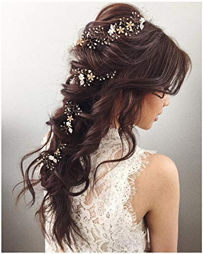 (SWEETV Crystal Gold Hair Vine - Braided Bridal Headband Bohemian Wedding Headpiece - 28.5 inch/72 cm Extra Long Pearl Hair Accessories for Brides)