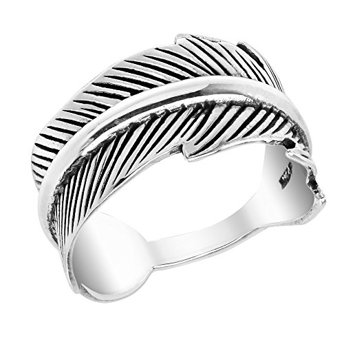 (AeraVida Uplifting Feather Wrap .925 Sterling Silver Ring (7))