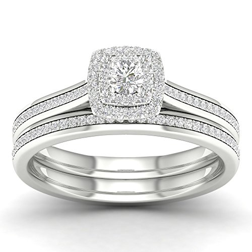 Wedding Tdw Ring Diamond Round (De Couer 10K White Gold 1/3 ct TDW Round Cut Diamond Double Halo Engagement Ring Set (HI, I2) (7))
