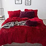 Faux Fur Duvet Cover JohnWhitley Luxury Plush Bedding Set Shaggy Faux Fur Duvet Cover Set Winter Fall Queen Size Bedding Set Wine Red Fluffy 1 Duvet Cover 1 Flat Sheet 2 Pillowcases