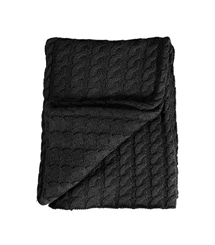 WoolOvers Pure Wool Chunky Cable Knitwear Warm Throw Charcoal 1size