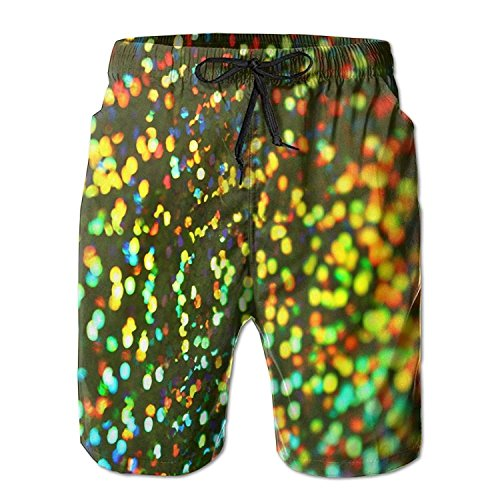 LLiopn Men's Dazzle Colour Abstract Pattern Swim Trunks Boardshorts with Pokets Beach Shorts -