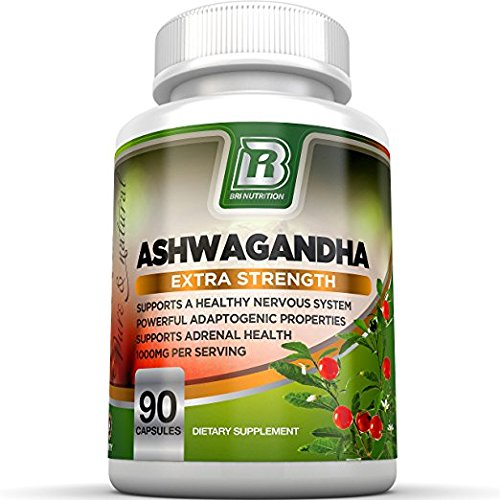 BRI Nutrition Ashwagandha - 90 Count - 1000mg Pure Ashwagandha Root Powder - 2 Veggie Capsules Per Serving .