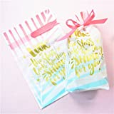 BBC Drawstring Treat Bag Pretty Letters Cookie Gift Packaging Bags -6x9 Inch, 24 Counts