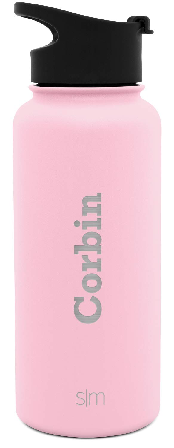 Simple Modern 32oz Personalized Summit Water Bottle - Gifts for Men & Women Custom Laser Engraved Name - Hydro Vacuum Insulated Flask with 2 Lids Leakproof Thermos -Blush