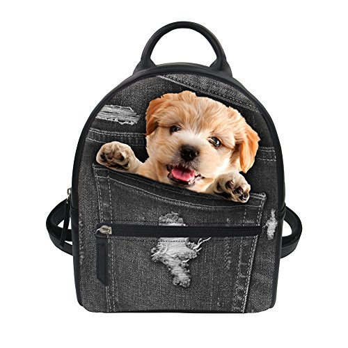 Price comparison product image Instantarts Mini School Backpack for Girls Little Puppy Dog Women PU Leather Shoulder Bag Purse