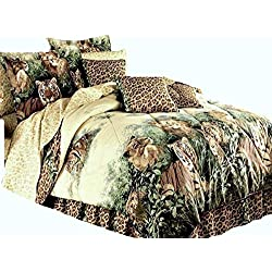 "Wild Cats Safari Leopards Lions & Tigers Animal Print Beige Comforter Set & Cheetah Sheets + Two Pillows (10pc Full Size 76"" x 86"")"