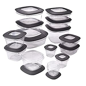 Rubbermaid Premier Easy Find Lids Food Storage Container Set, Grey