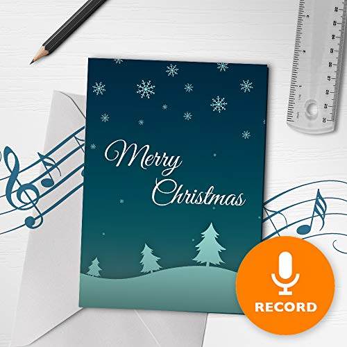 Merry Christmas Card | Unique Christmas Card, Snow Christmas Card, Recordable Christmas Card, Christmas Night Greeting Card 00010 (120 Second Recordable) (Christmas Recordable Cards Voice)