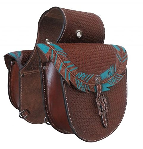 (Showman Teal Painted Feather Basket Tooled Leather Saddle Bag! New Horse TACK!)