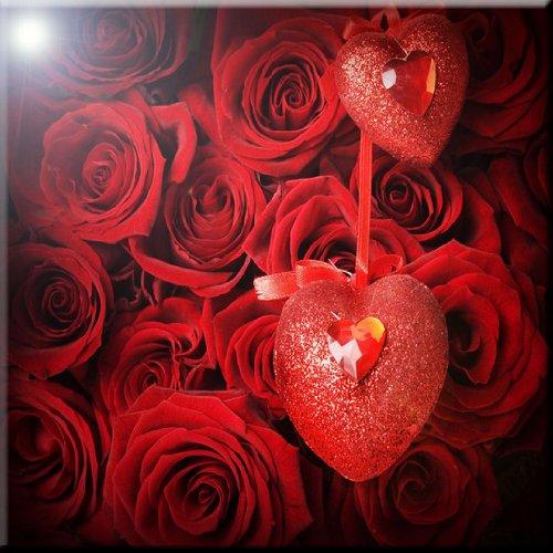 12 x 12 Rikki Knight Valentine Roses with Heart Design Ceramic Art Tile