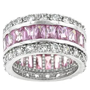 Pink Baguettes Eternity Band Size: 8
