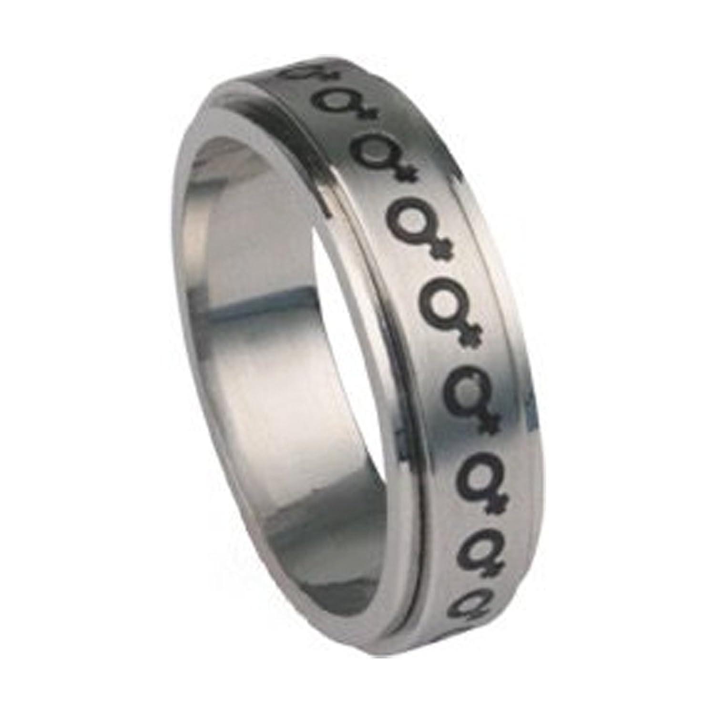 venus female symbol steel spinner ring lesbian pride