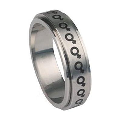 Amazon Venus Female Symbol Steel Spinner Ring Lesbian Pride