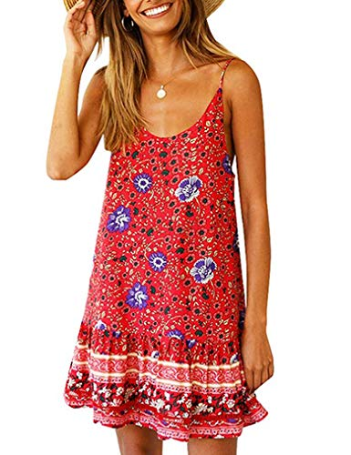 (Womens Flower Print Ruffle Round Neck Holiday Off Shoulder Swing A-Line Boho Spaghettic Strap Beach Dress with Pocket Plus Red XXL)