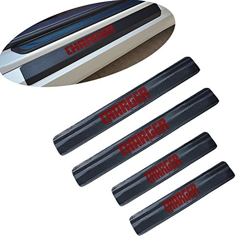 For Dodge Charger 4D Carbon Fiber Car door Plate Door Sill Scuff Plate Cars Sticker Anti-kick Scratch Auto Accessories Car-styling Car decoration - Charger Carbon Dodge Fiber