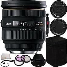 Sigma 24-70mm f/2.8 IF EX DG HSM Autofocus Lens for Nikon AF 10PC Bundle. Includes Manufacturer Acccessories + 3PC Filter Kit (UV-CPL-FLD) + Lens Pen + Cap Keeper + Microfiber Cleaning Cloth