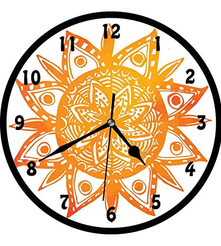 Orange 12 Inch Wall Clock - Orange, Watercolor Style Hand Drawn Sun Figure Tribal Ethnic Mandala Artistic Asian Print,Wall Clock Nice For Gift or Office Home Unique Decorative Clock Wall Decor 12in with Frame, Orange White