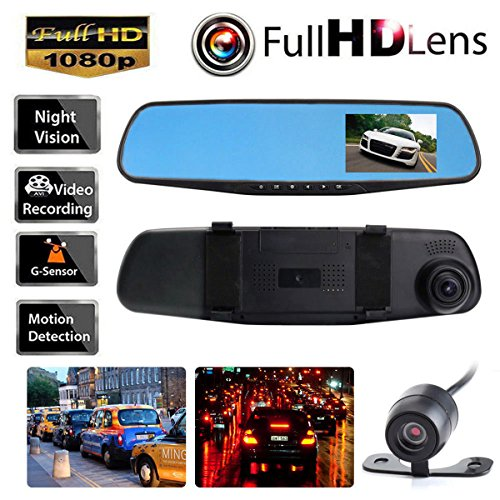 HD 1080P 4.3'' Dual Lens Video Recorder Dash Cam Rearview Mirror Car Camera DVR