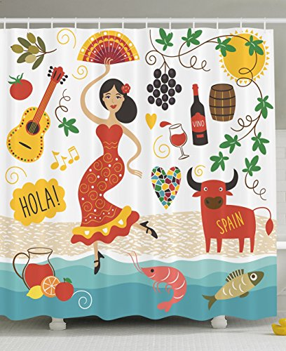 Spain Shower Curtain By Ambesonne Landmarks And Symbols Flamenco Barcelona Spanish Seafood Europe Vacation Travel Theme Polyester Fabric Bathroom
