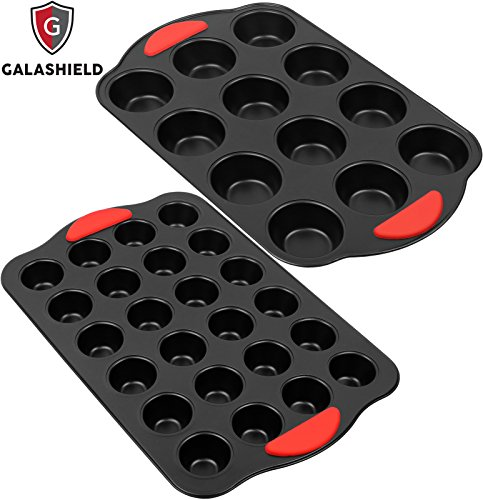 Galashield Nonstick 12 Cup Regular and 24 Mini Cup Muffin and Cupcake Pan with Silicone Grip (2 Piece Set)