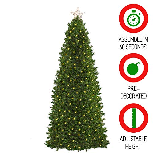 (Easy Treezy 7.5ft Prelit Christmas Tree, Easy Setup & Storage in 60 Seconds, Best Realistic Natural Douglas Fir 7.5 Foot Pre-Lit Artificial Tree with LED Lights, Pre-Decorated Holiday Decor MSRP $499)