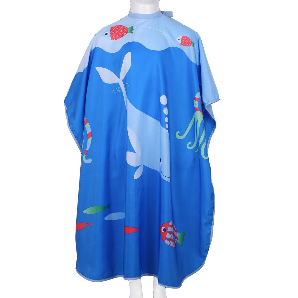 KaHot Haircut Salon Hairdressing Cape for Kids Child Styling Polyester Smock Cover Waterproof Shampoo & Cutting Household Capes with Snap Closure,37''×51''(Whale) by KaHot