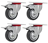 Online Best Service 4 Pack Quality 3'' Swivel Caster Wheels w/Double Brake Non Skid No Mark (4 Pack - w/Brake)