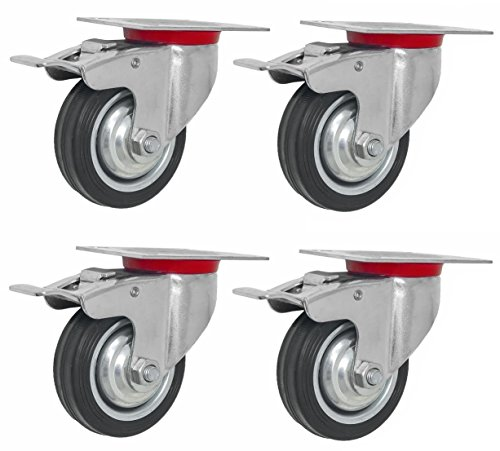 Online Best Service 4 Pack Quality 3'' Swivel Caster Wheels w/Double Brake Non Skid No Mark (4 Pack - w/Brake) by Online Best Services