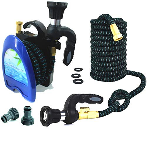 Garden Hose (Reinforced) 50ft Plus Deluxe Nozzle & Strongest Expanding Hose on The Market Guaranteed! Triple Core + Built-to-Last Fabric, Fireman Comfort Grip Heavy Duty Sprayer Free Garden Hose Reel