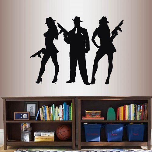 In-Style Decals Wall Vinyl Decal Home Decor Art Sticker Gangsters Man and Sexy Girls with Machine Guns Mafia Mobster Criminal Retro People Room Removable Stylish Mural Unique Design 2488]()