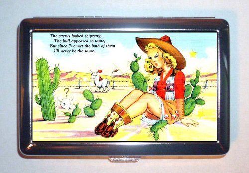 1950s Sexy Cowgirl Blonde Pin Up Cactus Bull, ID Wallet or Cigarette Case USA Made]()
