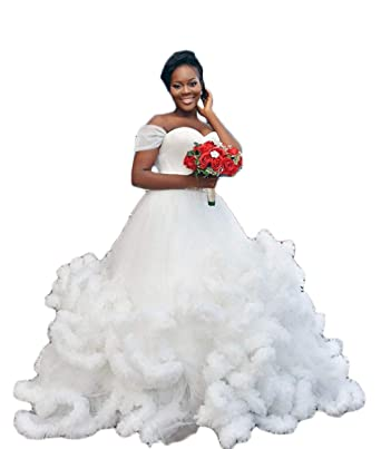 Chupeng Womens Off The Shoulder Beaded Belt Wedding Bride Dress