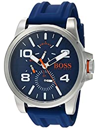 BOSS Orange Men's 'DETROIT SPORT' Quartz Stainless Steel and Silicone Casual Watch, Color:Blue (Model: 1550008)
