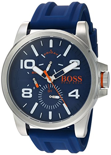 HUGO BOSS Men's 'DETROIT SPORT' Quartz Stainless Steel and Silicone Casual Watch, Color:Blue (Model: 1550008)