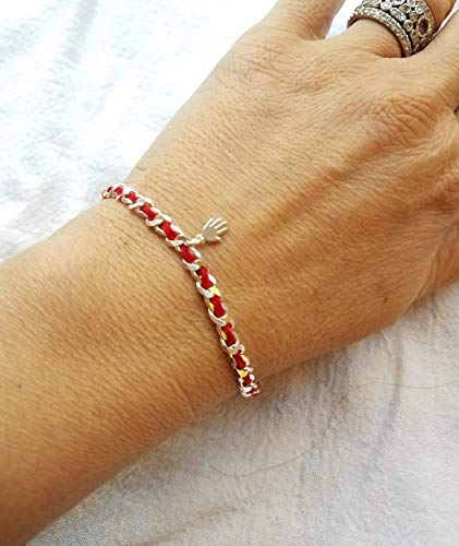 Hamsa Silver Red Bracelet for Protection, Wellness and Blessings