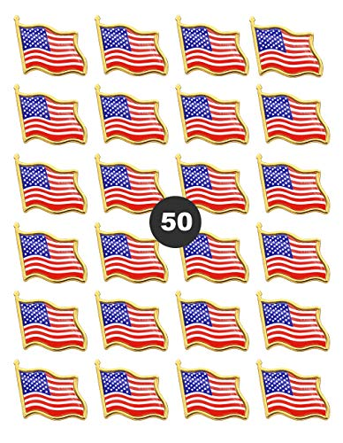 American Flag Lapel Pins -50 USA Waving Flag Pins United States US Badge Pins brooch for patriotic display -50 pack