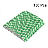 BESTOMZ 150pcs Biodegradable Paper Straws Bamboo Drinking Straws for Party Drinks Decoration