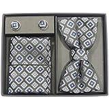 Brio Milano Men's Fashion Bow Tie Handkerchief & Cufflinks Set, Light Blue/Red Pattern Print