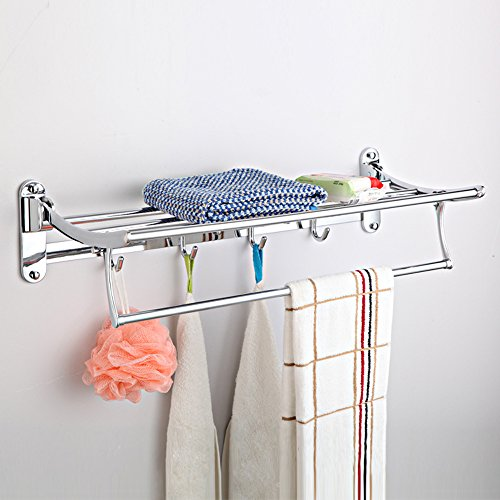 Metal Bathroom Rack with Towel Bar, Polished Chrome