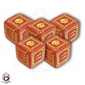 Q-Workshop: Five d6 Dice - ORC Battle Dice (Red & Yellow) by Q Workshop