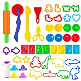 Pandapia 47 PCS Play Dough doh Tools Playdoh Playsets Accessories Molds Cutters Party Pack for Toddler Preschool Toys Classroom Prizes