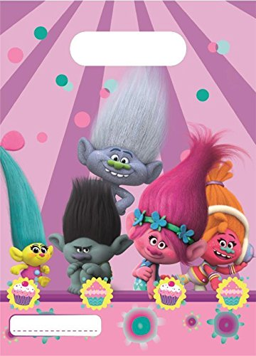 Dreamworks Trolls Plastic Party Loot Bags 6 Items